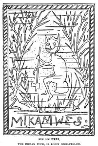 """Illustration of """"Mik um wes"""", the Indian Puck from Algonquin Legends of New England"""