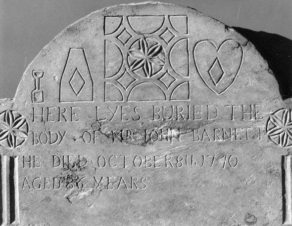 Detail of the gravestone of John Barnett, from the Faber Gravestone Archive